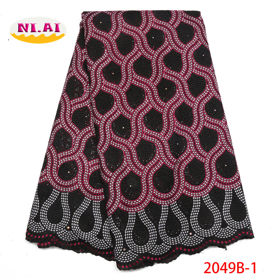 High Quality African Lace Fabric 2018 with Rhinestones Swiss Voile Lace in Witzerland Nigerian Cotton lace