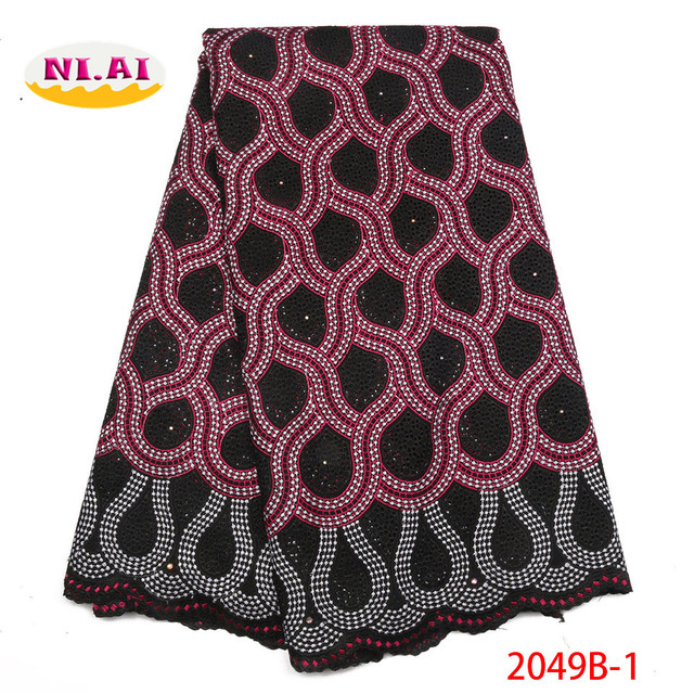 High Quality African Lace Fabric 2018 with Rhinestones Swiss Voile Lace in Witzerland Nigerian Cotton lace For Wedding NA2049B-1