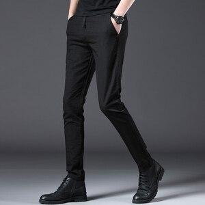 Image 4 - Jantour 2020 ファッション男性パンツスリムフィット春夏高品質ビジネスフラット全身薄型カジュアルズボン男性