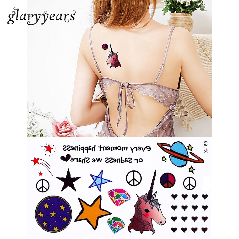 1 Piece Cute Cartoon Children Temporary Tattoo Beauty Girl Star Design Body Leg Arse Art Tattoo Sticker Sexy Makeup 10.5cm * 6cm