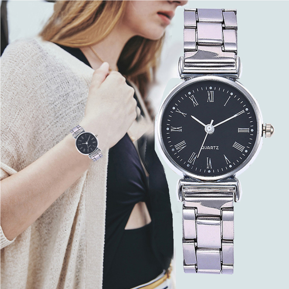 New Fashion Ladies Silver Stainless Steel Strap Roman Numeral Dial Watches Women Casual Dress Quartz Wristwatch Reloj Mujer #B