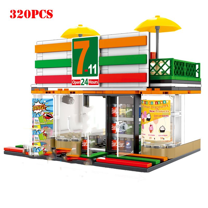 Street Hamburger Cafe Retail Convenience Store Architecture Building Blocks Compatible Legoed Technic City Street View Brick Toy 4
