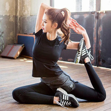 New Short Sleeve Two-piece Outdoor Fitness Suit Sports Brand Yoga Women
