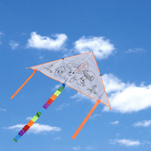 DIY Children Doodle Outdoor Fun Sport Color Wood Paper  Kites White Triangular with 30 M Line