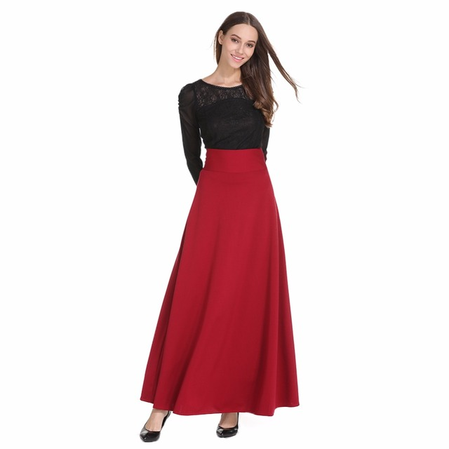 4cabd5cee High Waist Maxi Skirt For Women Big Swing Ankle-Length Long Pleated Skirt  Plus Size S-5XL