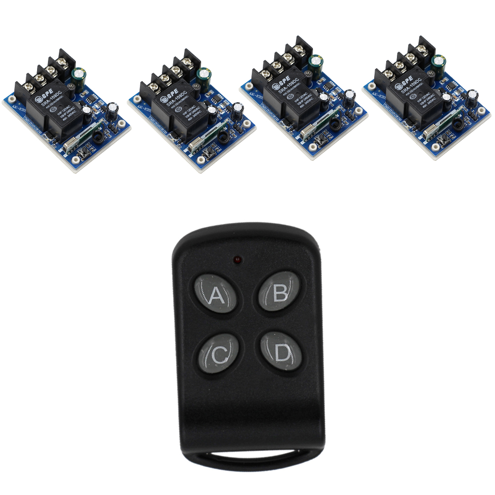 DC 12V 24V 36V 48V 1 CH RF Wireless Remote Control 4 pcs Receivers & 1pcs Transmitter with 4 Buttons 315/433mhz New цена