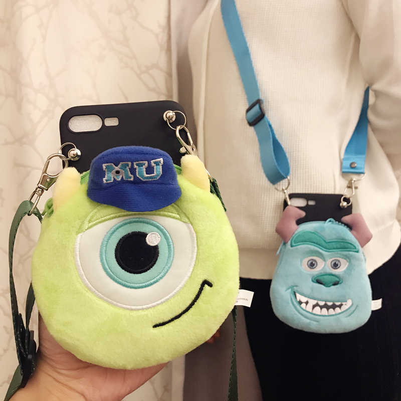 cute cartoon Plush coin purse + fashion sling lanyard soft cover case for Xiaomi Mi A1 A2 8 Lite 9 SE Back Capa