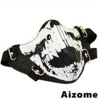 Мотоцикл черный призрак маска мужские панк байкер Маска из искусственной кожи Half-лицо Готический маска