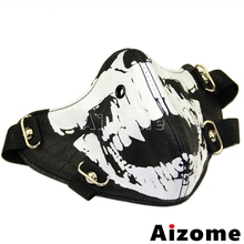 Face-Mask Ghost Motorcycle Half-Face Black Punk Mens