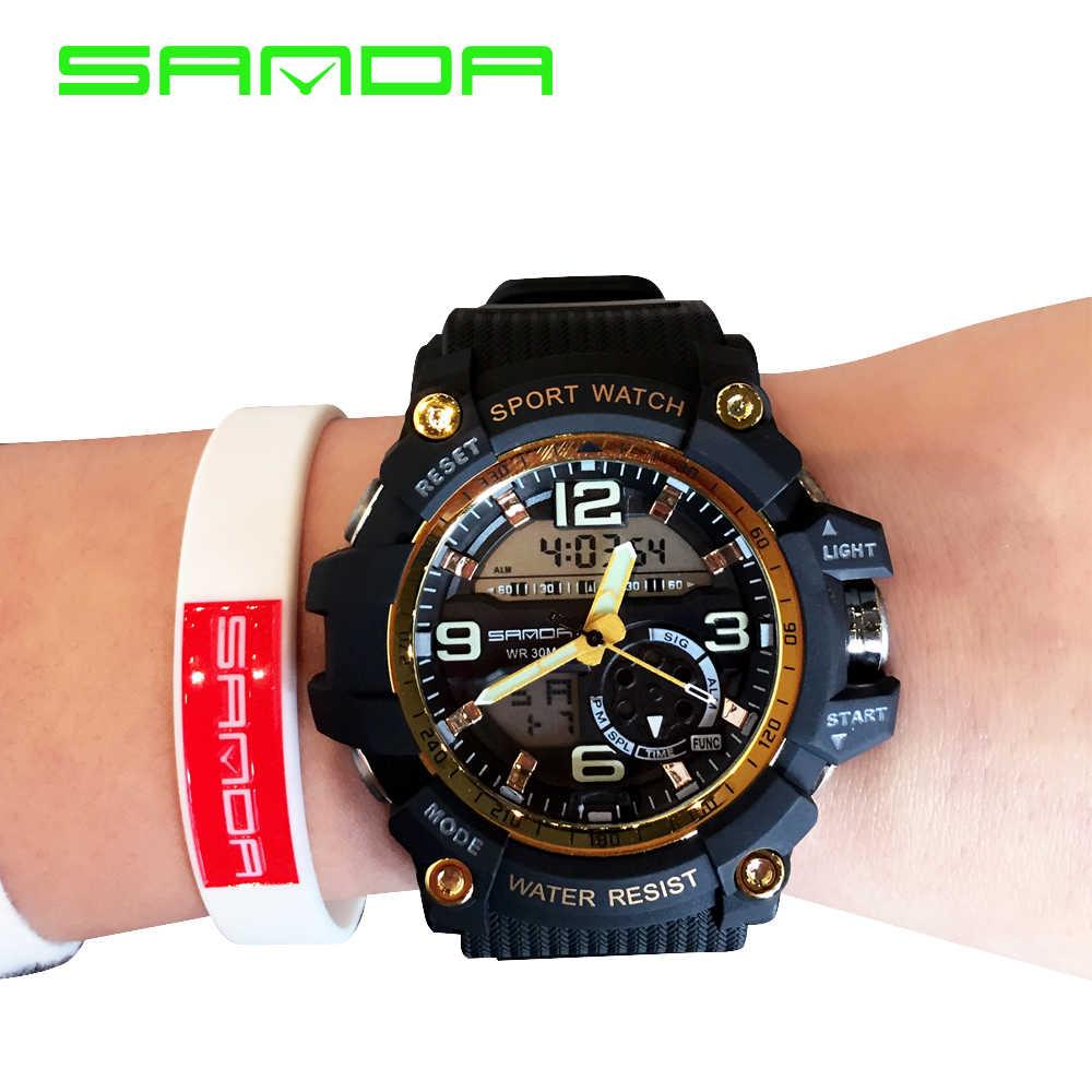 2018 יוקרה גברים Relogio שעון ספורט Sanda מכירה פופולרי גומי מזדמן רצועת קוורץ שורש כף יד שעונים Montre Femme הדיגיטלי אנלוגי