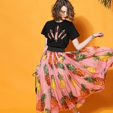 Women runway Pink Pineapple Printing Long Skirt 2017 Elegant Elastic Waist Ladies bohemian A-line Skirts Saia Femininas