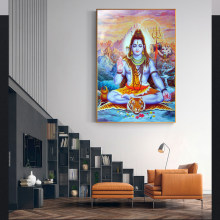 Religious Painting Hindu Gods Home Decorative Posters and Prints Ganesha Gods Canvas Paintings Wall Art God Of Wealth Picture(China)