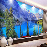 beibehang Advanced Decorative Wallpaper Modern Fashion Living Room Big 3d Wallpaper Forest Park Snow Lake Art papel de parede