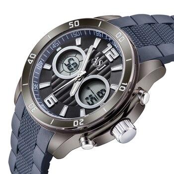 f6dfc919cf0d Top lujo marca ASJ negro reloj hombres cuarzo relojes deportes impermeable  militar banda de silicona LED Relojes