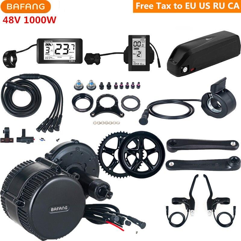Bafang 8fun 48V 1000W BBSHD BBS03 Mid Drive Motor Kits With 48V 17AH Lithium Battery C961 C965 Electric Bicycle Conversion Parts