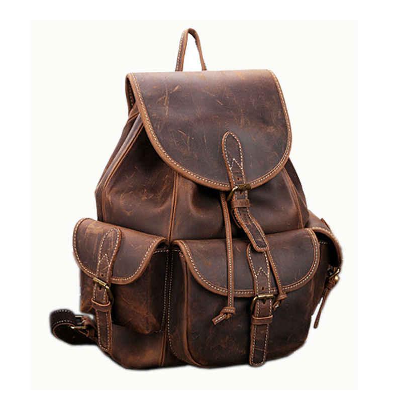 Vintage Crazy Horse Leather Backpacks 100% Genuine Leather Laptop Backpack Men Bag Casual Women School Backpack Free Shipping