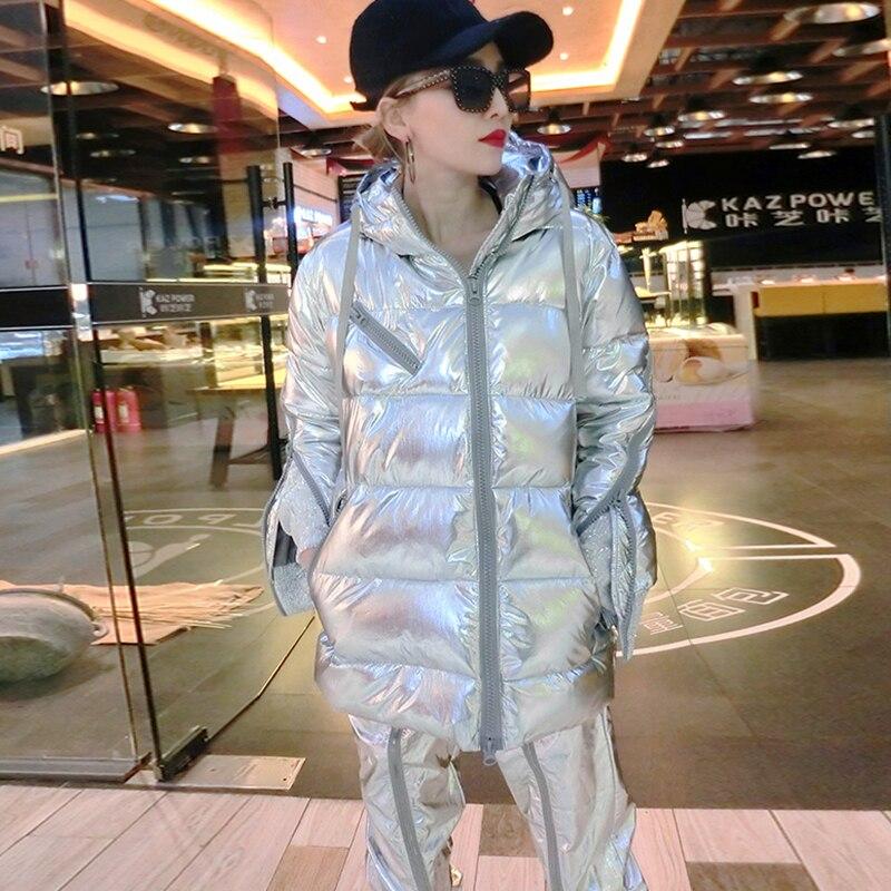 Kadın Giyim'ten Parkalar'de Kış sıcak Ceket Moda Metal Gümüş Aşağı Ceket Büyük boy Pamuk Ceket Kadınlar Kış Kapşonlu Ceketler Parka Kalınlaşmak Mont H347'da  Grup 3