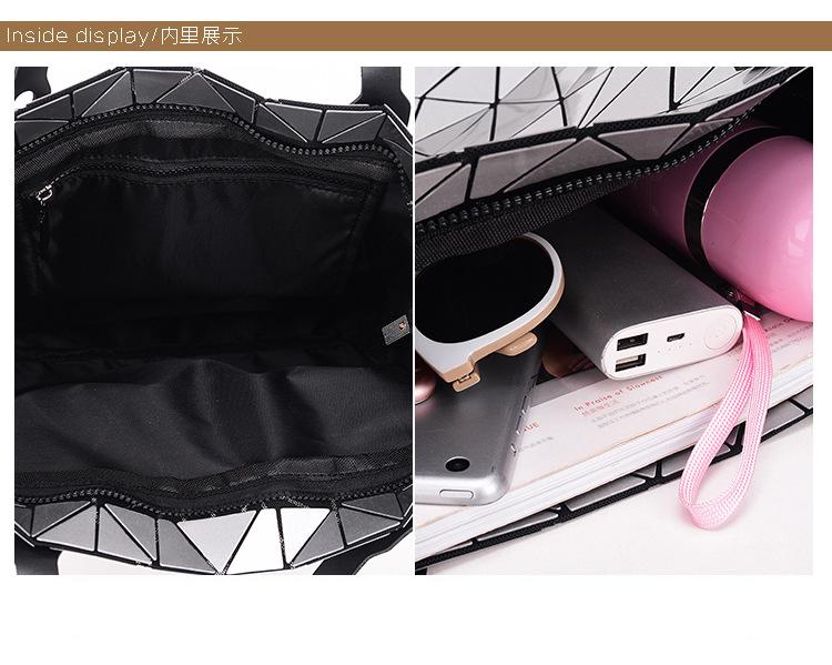WSYUTUO Handbag Female Folded Ladies Geometric Plaid Bag Fashion Casual Tote Women Handbag Shoulder Bag 16