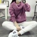 Freeshipping 2016 otoño invierno nuevas mujeres Giro de punto suéter de Mohair capa del suéter de Corea del suéter de cuello alto flojo tire femme