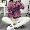 Freeshipping 2016 outono inverno novas mulheres Mohair Torção de malha pullover camisola de gola alta casaco camisola solta Coreano puxar femme