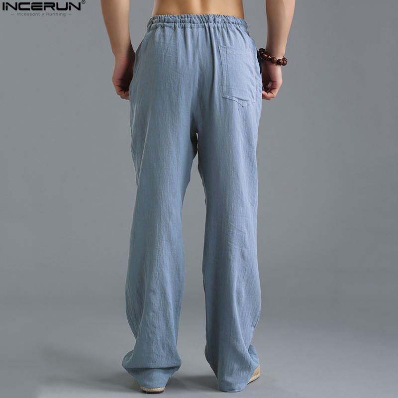 INCERUN Plus Size 5XL Men's Pants Straight Loose Long Trousers Elastic Waist Casual Joggers Sweatpants Ku Fu Pant Rayon Pantalon