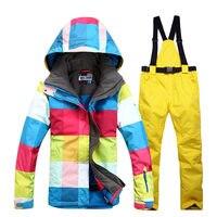 Woman Snow Suit Sets Outdoor Sport Snowboarding Clothes 10K Windproof Waterproof Winter Customes Skiing Jackets Bibs