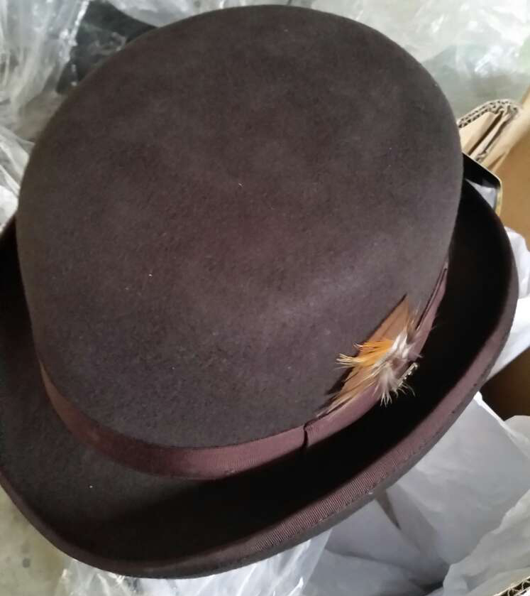100% Wool Brown Derby Bowler Hat luxury felt billycock hats for men with  belt rolled brim Black Coffee Gray Size S M L XL-in Fedoras from Apparel ... 76b7484560a