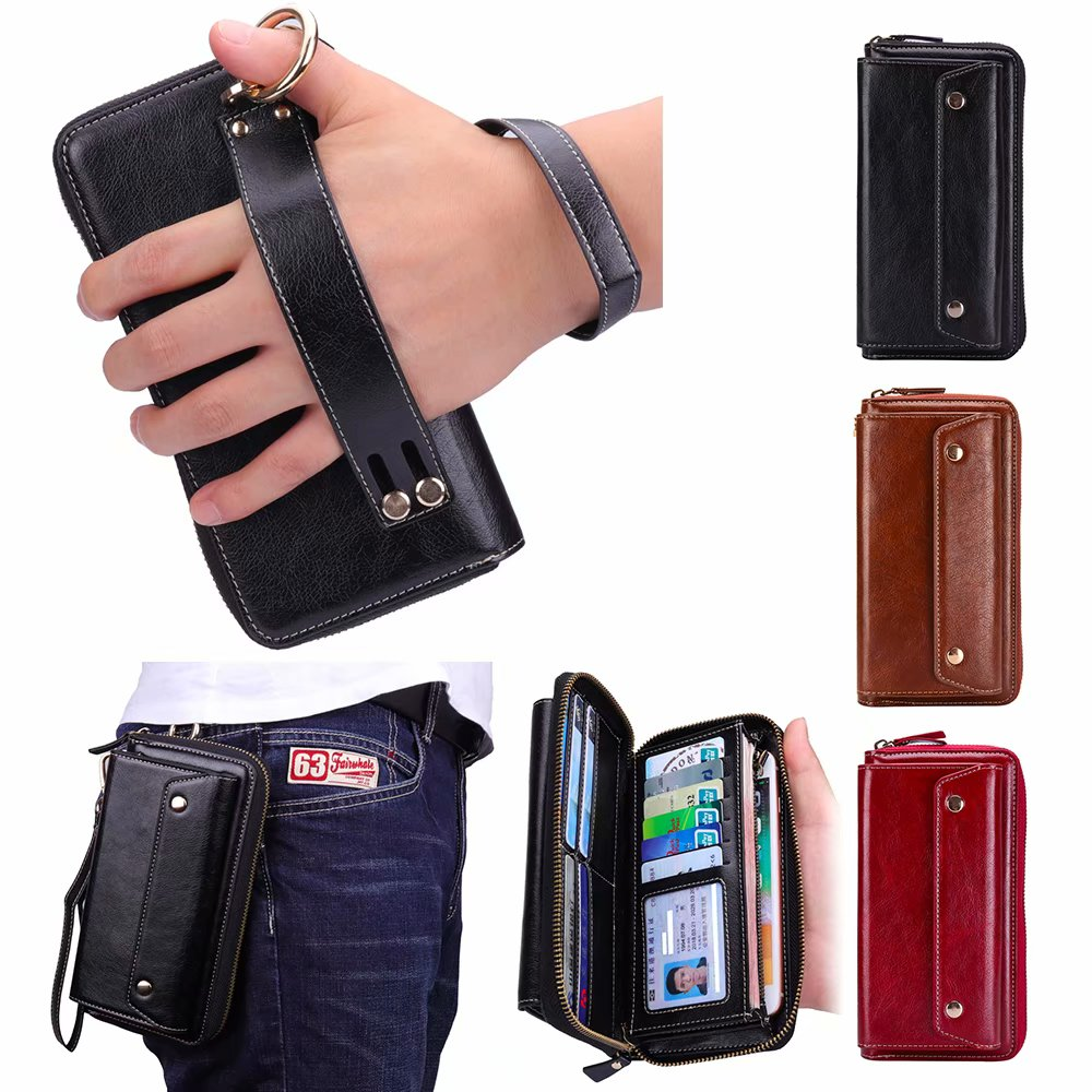 Finger Ring Belt Hand Strap PU Wallet Mobile Phone Case Pouch For iPhone 8 Plus,For iPhone 7 Plus,For iPhone 6/6s Plus,Oneplus 6