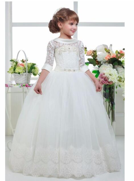 Girls Wedding Formal Dresses 2018 Lace Gauze Backless Prom Ball Gown Flowers Girls Princess Dress Kids Long Party Dress White girls wedding formal dresses 2018 lace tailing catwalk gauze prom ball gown flowers girls princess dress kids long party dress