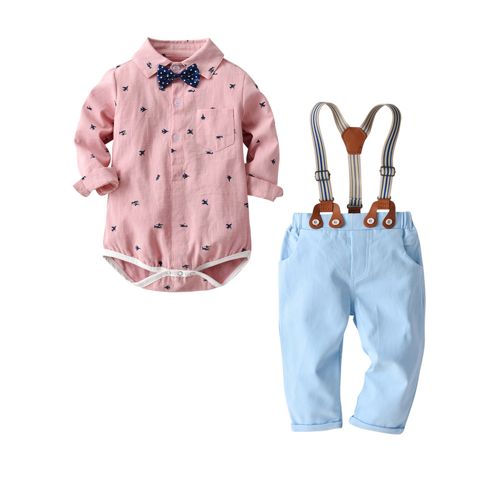 c9e53d238a75f QAZIQILAND Toddler Baby Boys Clothing Set Gentleman Long Sleeve Print  Rompers Shirt+Jeans 2PCS Outfits