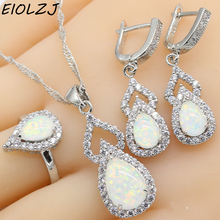 925 joyería de plata esterlina establece para las mujeres geométrica blanco ópalo de fuego colgante pendientes gargantilla anillo caja de regalo envío gratis
