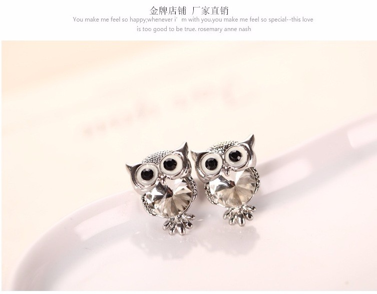 New Design Crystal Women Charms Owl Stud Earrings Five Colors Fashion Jewelry White Gold Plated Cute Trendy For Wedding HFNE099
