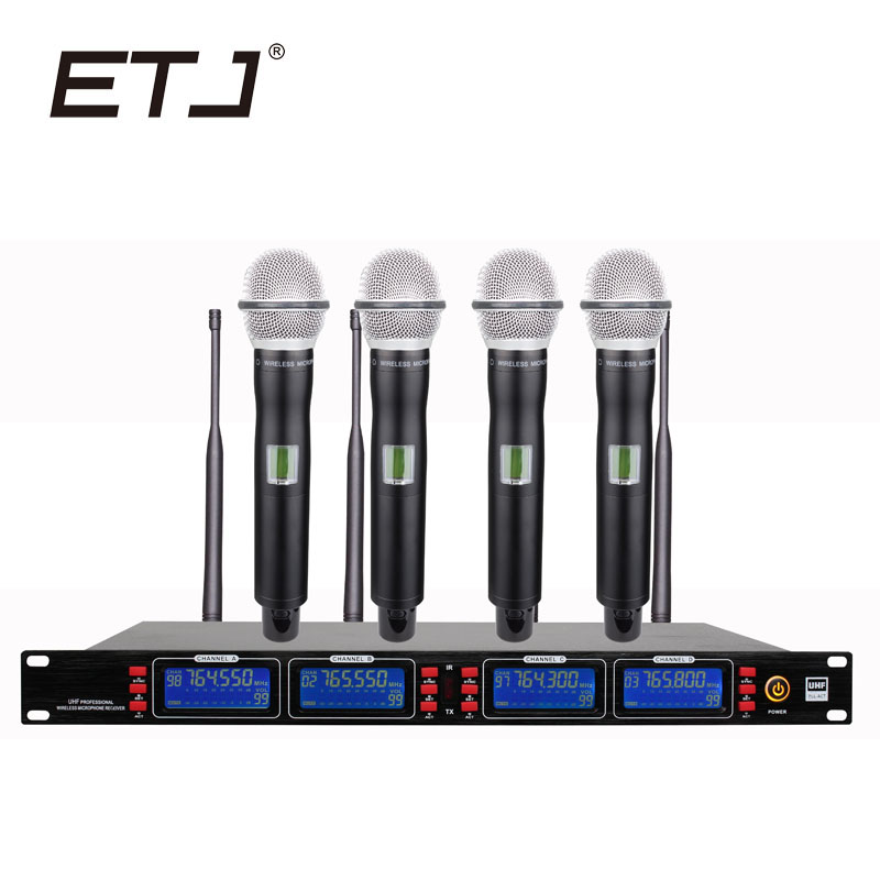 ETJ Brand UR2000A Professional UHF Wireless Microphone 4 Transmitter Handheld Stage Performance Wireless Microphone System ugx88 professional one to four wireless microphone professional stage performance meeting the sound box condenser microphone