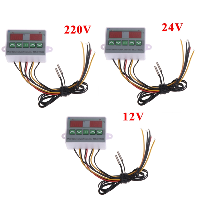 220V 12V 24V Digital Dual Temperature Controller Thermostat Incubator Dual Probe