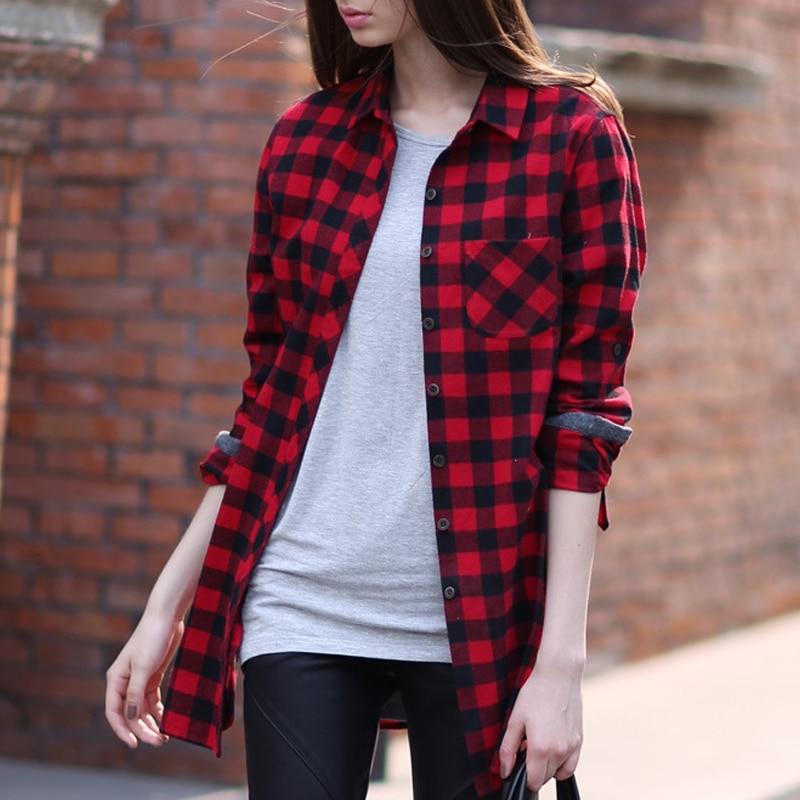 20a878bb Hot Red Black Plaid Shirt Women 2015 Fashion Casual Long Sleeved Plaid Shirt  Cotton Checked Blusas y Camisas Mujer