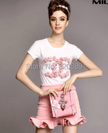 Spring 2014 Summer European new women's manual disc flowers short sleeved women t shirt flounced skirt ladies suit