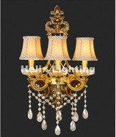 工場直接販売ゴールデン真鍮の壁ランプ真鍮壁取り付け用燭台用ホテルで生地シェード現代ac結晶壁ランプ光沢