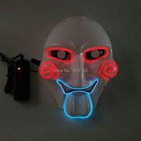 2017 neue EL Draht SAH Maskerade Maske Mode Kostüm LED Blinklicht Leucht Partei Maske durch 3 V Sound Aktiviert Controller