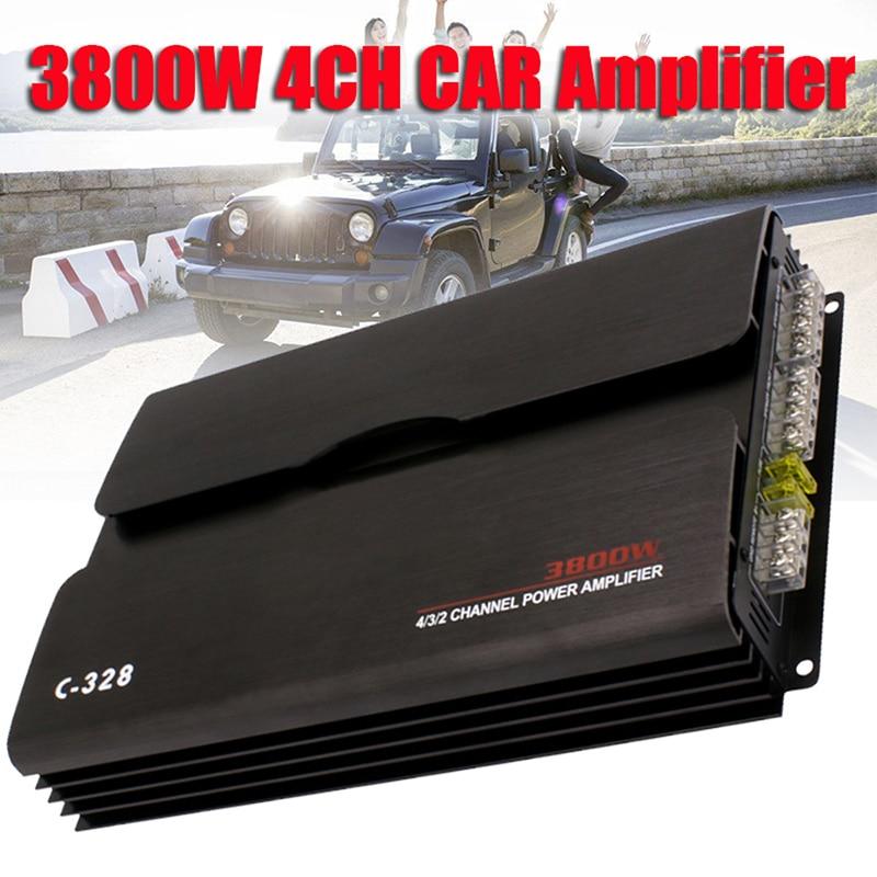 все цены на 3800W 4 Channel Car Amplifier Audio Car Subwoofer Amplificador Amplifier Bluetooth Car Sound Stereo Subwoofer Car Audio Amplifie онлайн