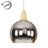 Modern Mirror Iron Wood Pendant Light LED E27 Europe Loft Hanging Lamp With 2 Colors For