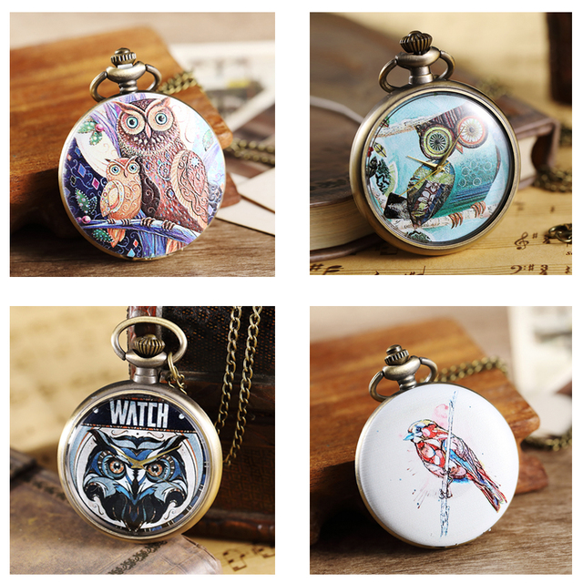Retro Owl Pocket Watch with Chain Necklace Pendant Mens Flip Open Case Fob Watch