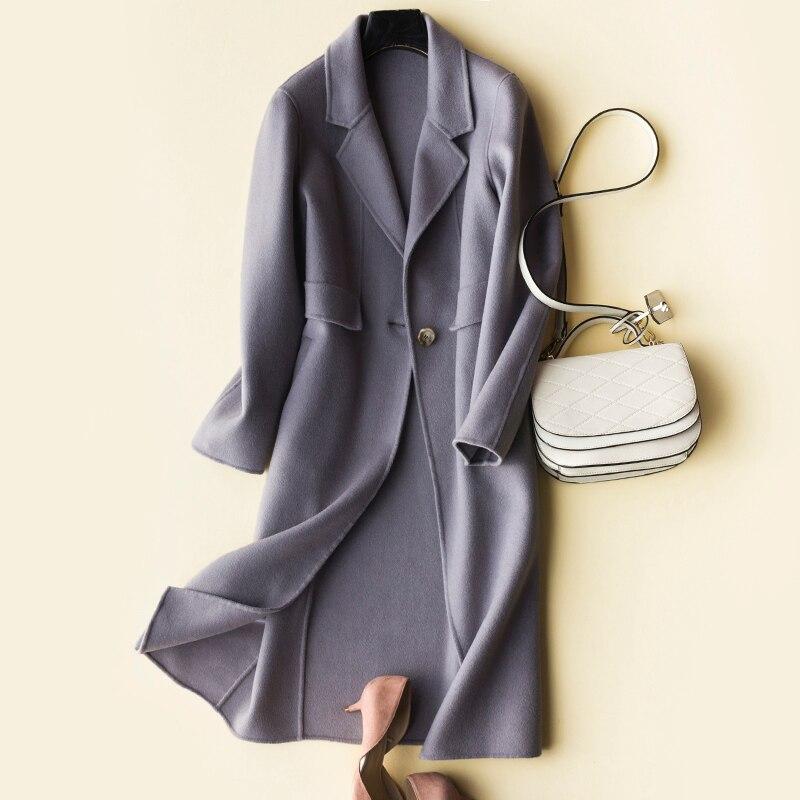 Vêtements 2019 Hiver Coréenne Pardessus Face Lwl1418 Beige 100 Femme Camel Chaud Printemps lilac Vestes Automne Tcyeek Long Femmes Mince Laine Manteau De TxqznC5