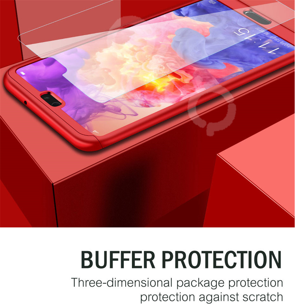 360 Degree Full Protective Phone Case For Huawei P20  P20 Lite P20 Pro Cover Case For Huawei P20 Lite P10 P10 Lite P10 Plus Mate 10 Lite Mate 10 Pro Matte Shell Tempered Glass 9