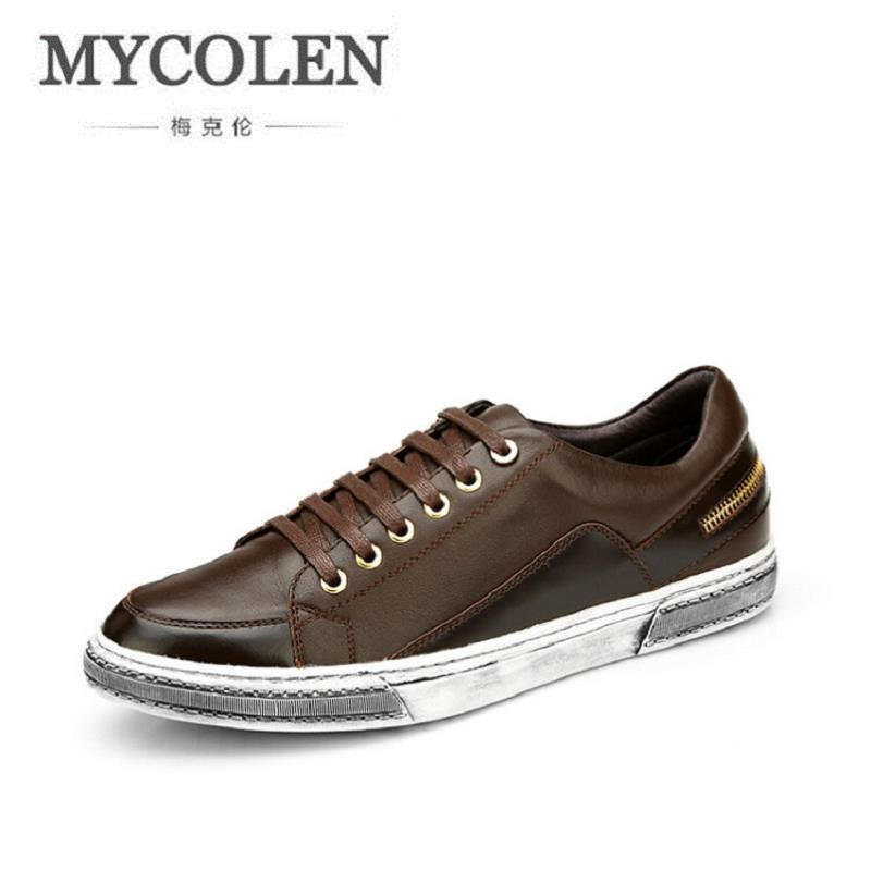 MYCOLEN New Casual Shoes Mens Retro Style Fashion Classic Outdoor Shoes Male Genuine Leather Shoes For Men Zapatos De Hombre new fashion men luxury brand casual shoes men non slip breathable genuine leather casual shoes ankle boots zapatos hombre 3s88