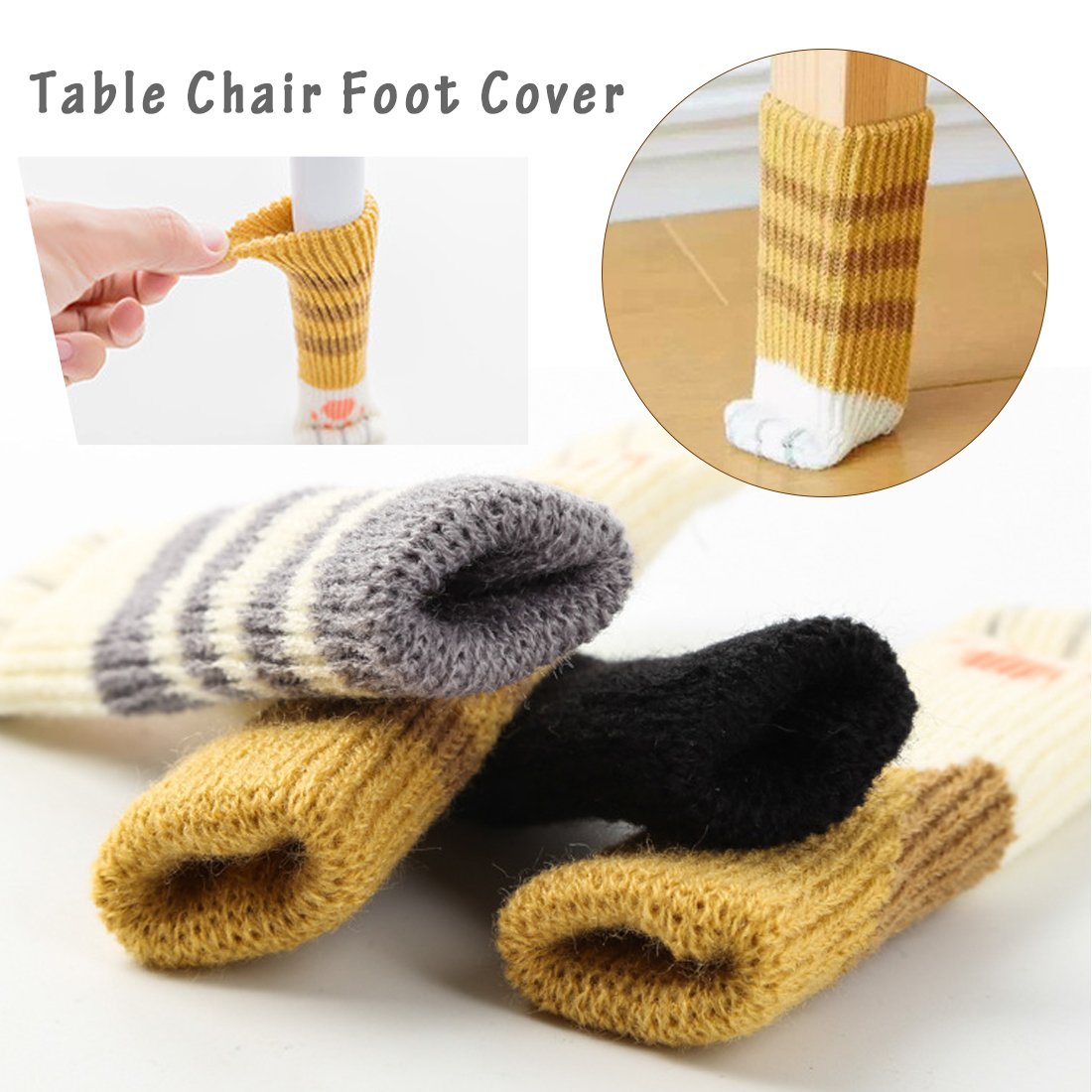 4pcs /set Cute Lovely Cat Paw Table Chair Foot Leg Knit Cover Protector Socks Sleeve Protector 5 Colors WholeSale
