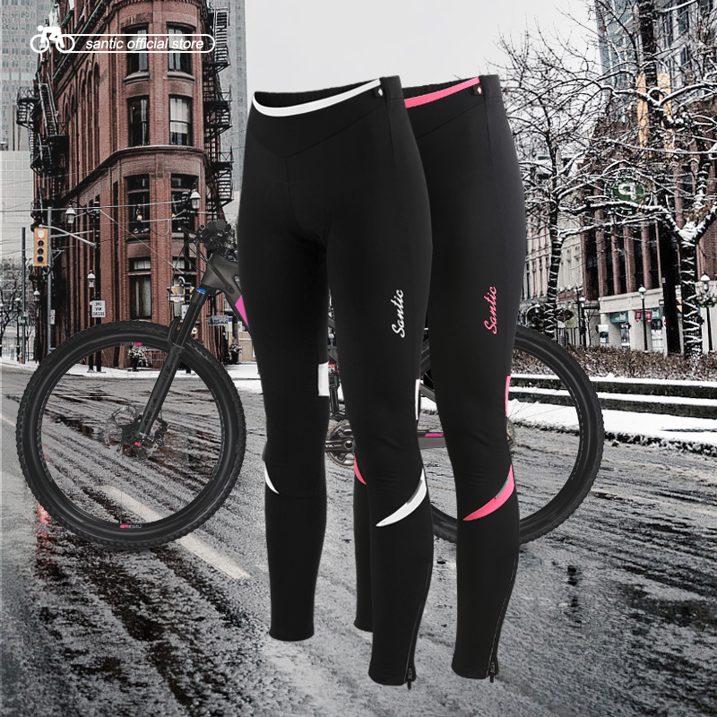 Santic Women Cycling Fleece Padded Pants Winter Windproof Reflective Bike Thermal Pants Keep Warm Asian S-2XL L6C04078H veobike winter windproof thermal fleece reflective bike bicycle jersey warm cycling wind coat jackets pants set for men women