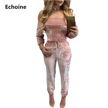 Sexy Off Shoulder Slim Velvet Women Jumpsuits Autumn Long Sleeve Overall Pink Blue Casual Rompers Streetwear