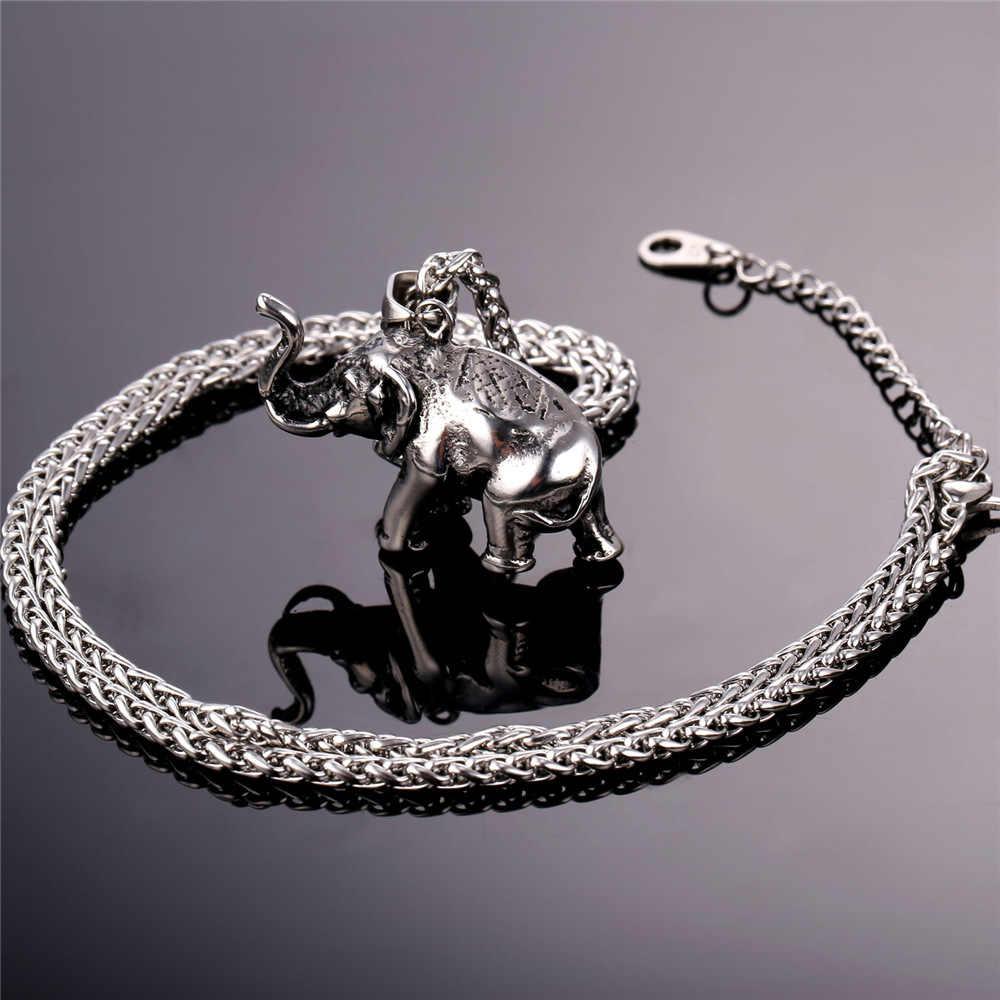 U7 ze stali nierdzewnej złoty kolor słoń naszyjnik Trendy mężczyźni biżuteria urok wisiorek i łańcuch zwierząt szczęście biżuteria prezent P755