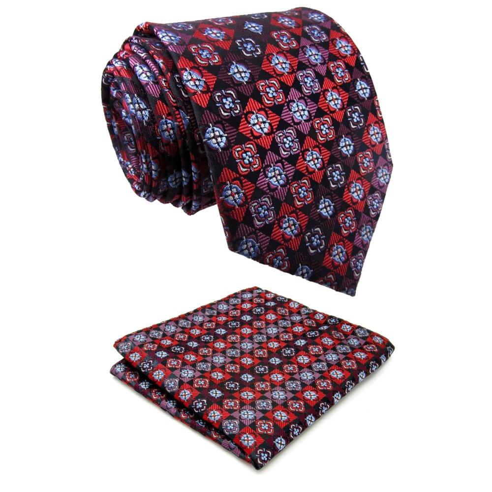 P4 Extra Long Pattern Floral Multicolor Black Red Pink Mens Ties Silk For Men Fashion Pocket Square For Men