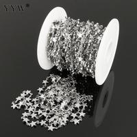 Stainless Steel DIY Jewelry Chain 10m/Lot Star Shaped Original Color Handmade Jewelry Making Accessories With Plastic Spool